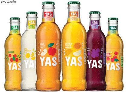 Lançada há pouco mais de um ano, a bebida Yas, da Coca-Cola, leva água gaseificada, suco de fruta, aromas naturais e nenhum conservante, açúcar ou adoçante